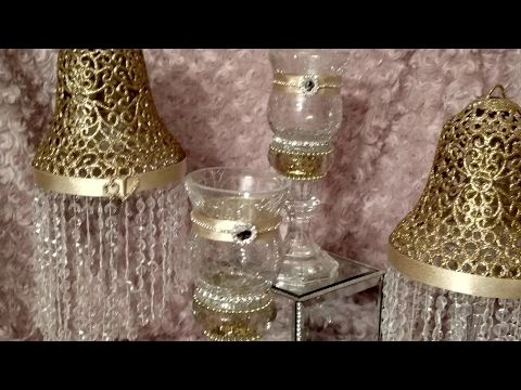 (84) DIY Bling Crackle Glass Hurricane Lamps - YouTube