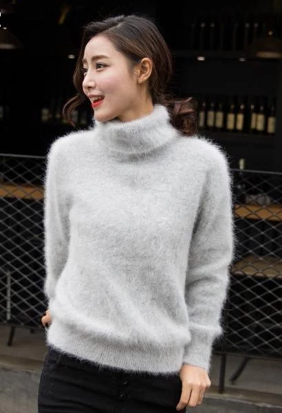 new Europe women 100% real mink cashmere sweater female