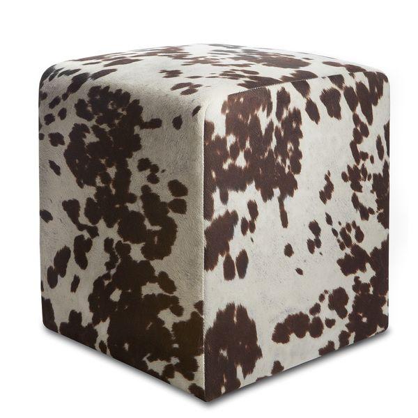 Fabulous Brown Cowprint Textured Velvet Square Ottoman Overstock Inzonedesignstudio Interior Chair Design Inzonedesignstudiocom