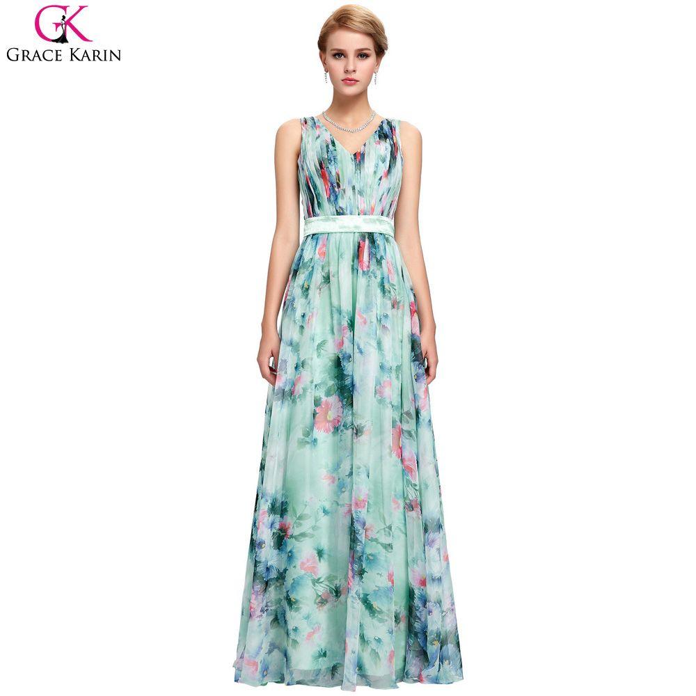 Grace Karin Flowers Evening Dress Event V Neck Robe De Soiree ...