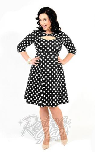 Retro Glam - Cherry Velvet Daphne Black & White Polka Dot Dress