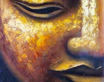 Buddha art oil painting large hand made golden buddha oil