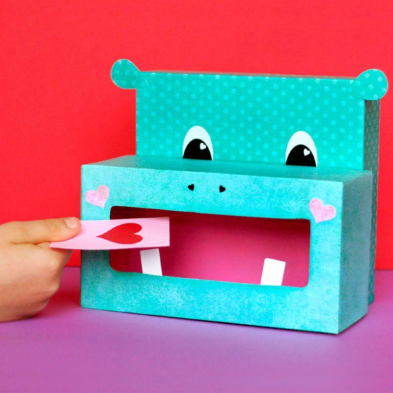 DIY Kids Valentine Holder - hippo valentine's day crafts - easy tutorial for valentine's card box