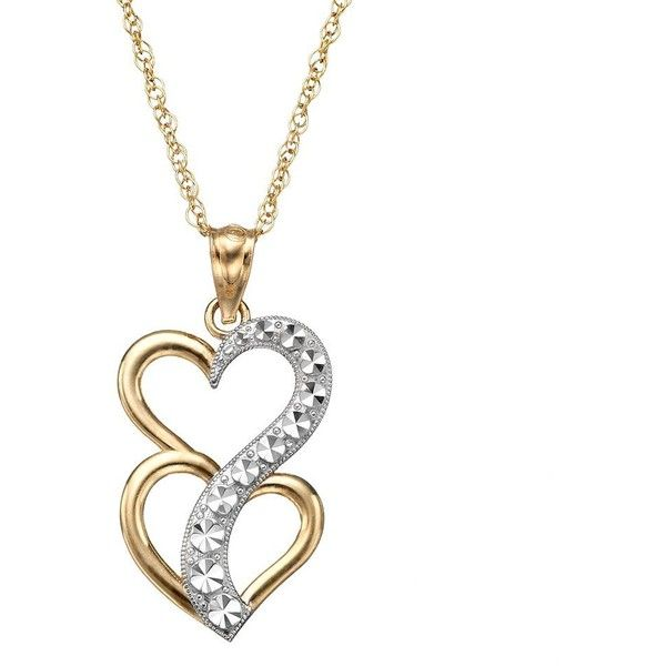 10k Gold Two Tone Double Heart Journey Pendant Necklace Yellow Journey Pendant Heart Pendant Necklace White Gold Pendants
