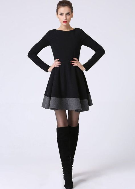 e765b09b45e748 Little black dress, LBD, short sleeve dress, color block dress ...