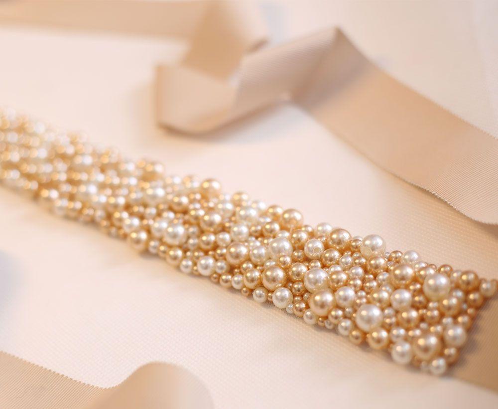 Gold belt for wedding dress  Pearls Champagne Gold Wedding Sashes Vintage Champagne Gold Bridal