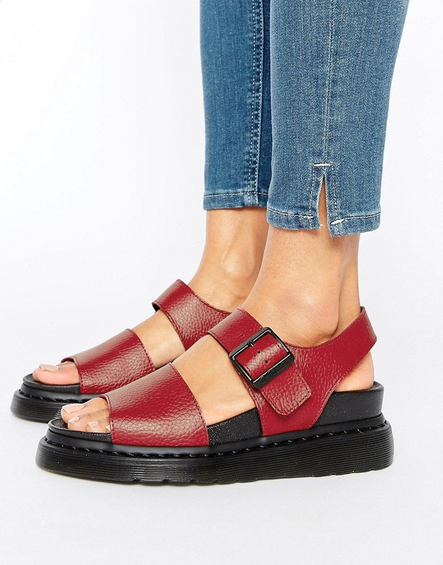 Discount Women Dr Martens Romi Red Leather Strap Flat Sandals Up To 60% Off