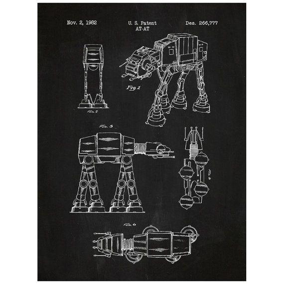 Star Wars AT-AT Screen Print – ATAT Blueprint Patent Poster – Movie Art Jedi Force Han Solo Death St