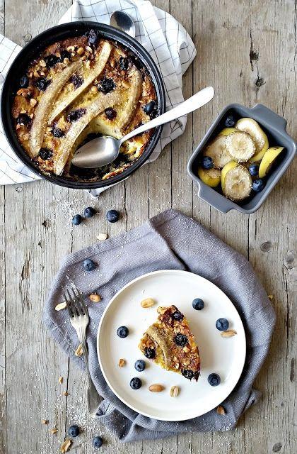 Bread Pudding de Banana, Mirtilos e Ricota - Basta Cheio
