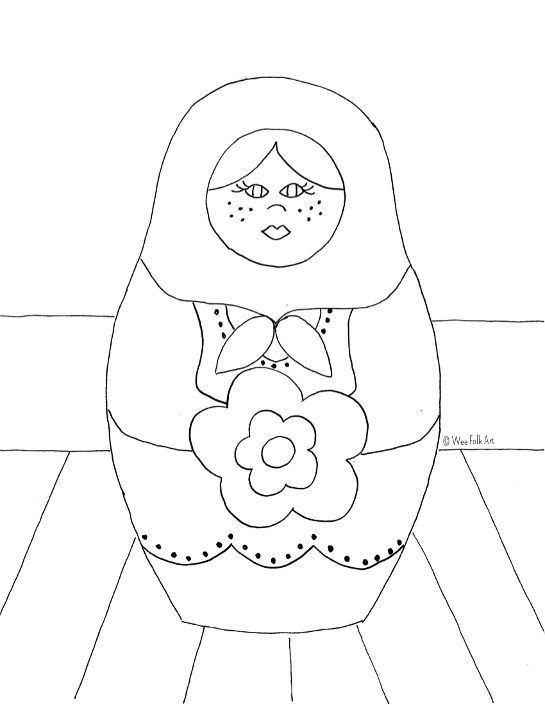 Russian Nesting Dolls Coloring Page Russian Folk Art Folk Art