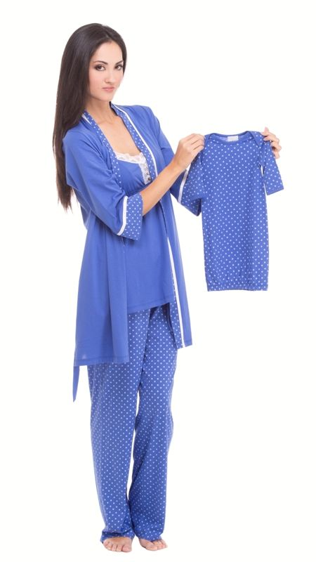 55daeec579a8f Olian Cornflower Blue Tricot Maternity Nursing PJ Set - SUPER | lump ...