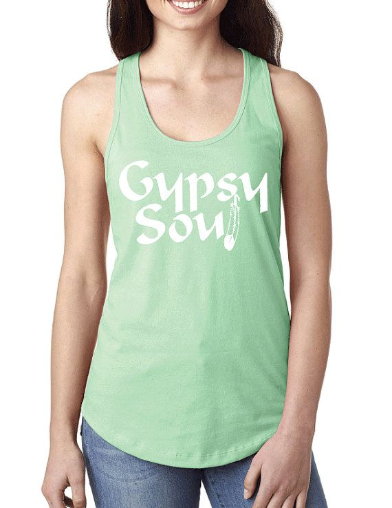 062f5fbd1cd05 Gypsy Soul Feather Fitted Racerback Tank Top by GKapparel on Etsy ...