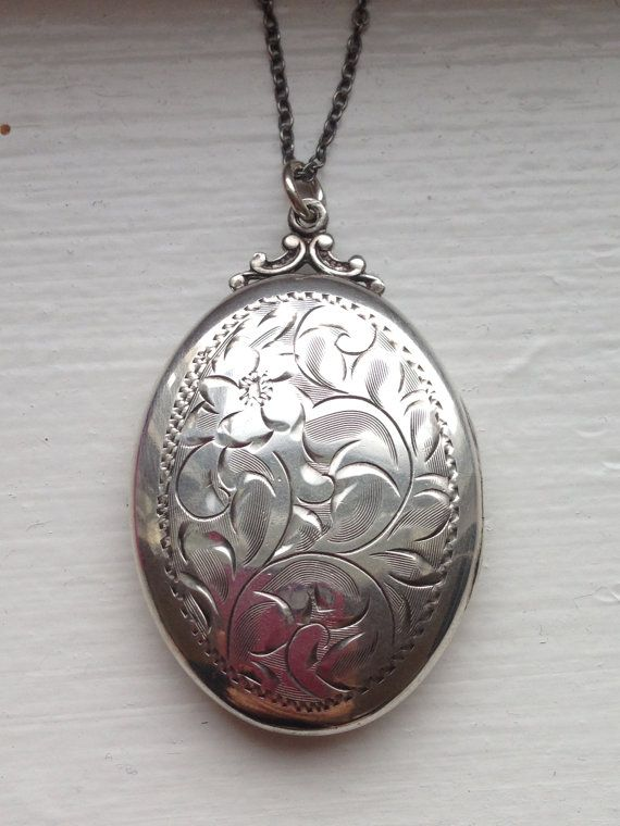 Victorian Sterling Silver Locket with Flowers