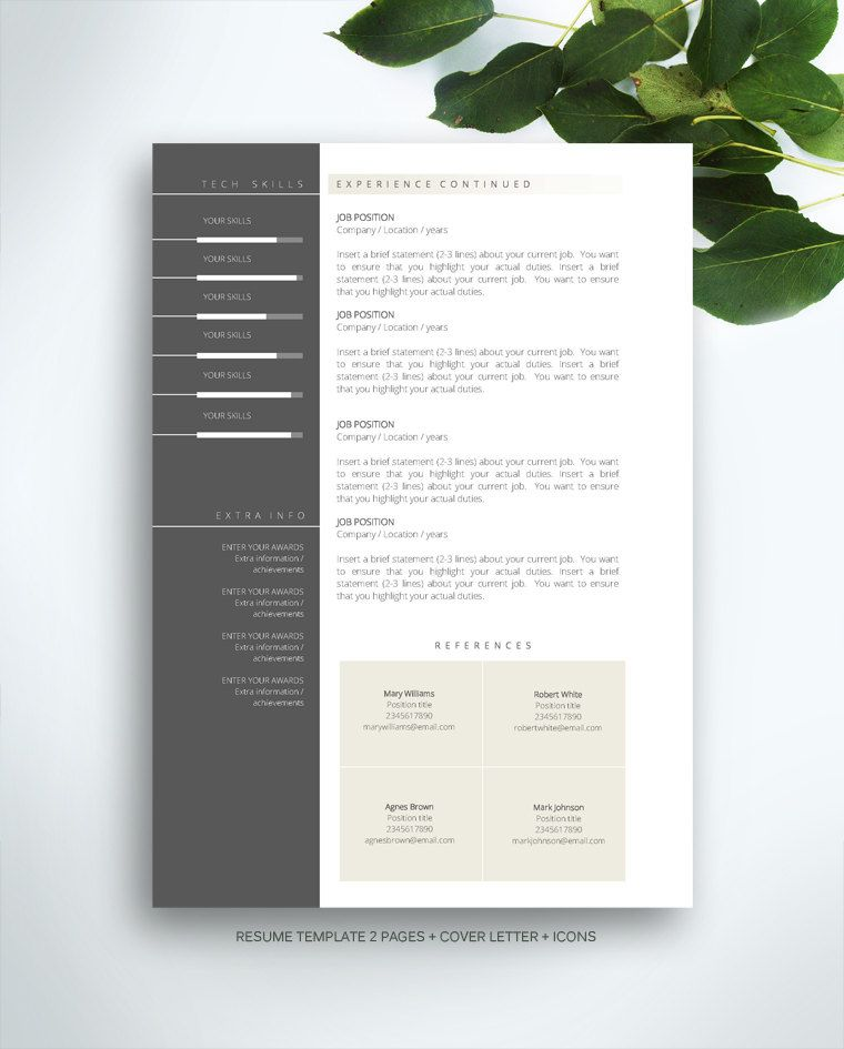 Resume Template 3 page \/ CV Template + Cover Letter \/ Instant - job manual template
