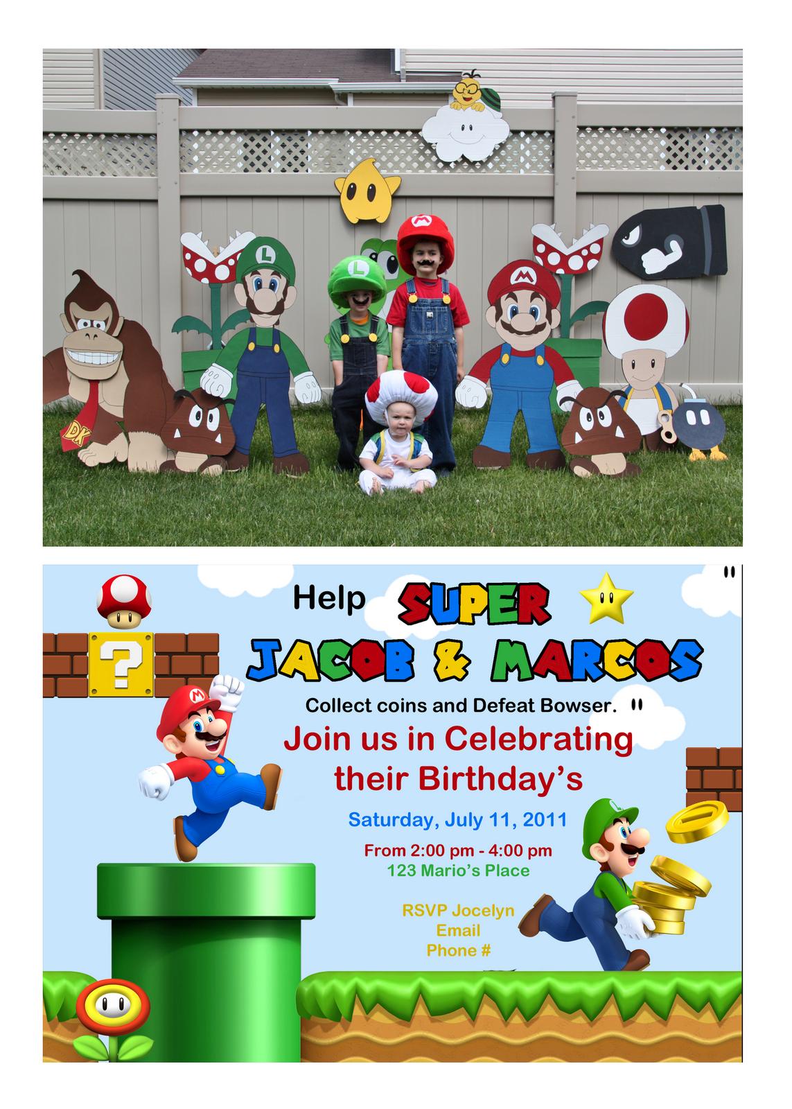 Super Mario Birthday Party Invitation Mario Bros Party Decorations
