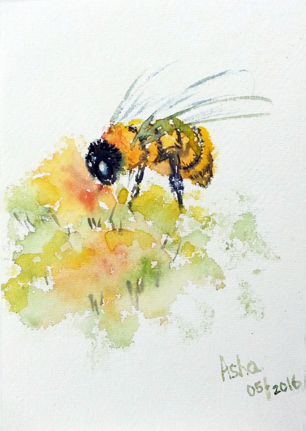 Free Shipping To Bee or not to be, Save the bees,watercolor painting ...
