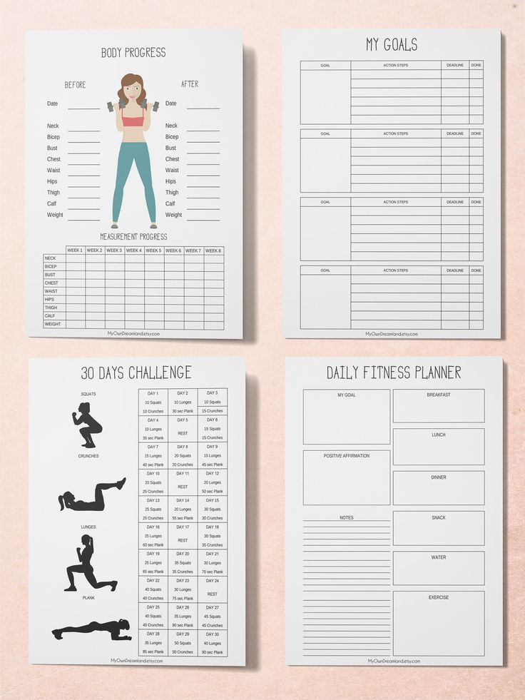Workout Planner, Fitness Planner, Printable Planner Kit, Workout Tracker Printable,  #FITNESS #fitne...
