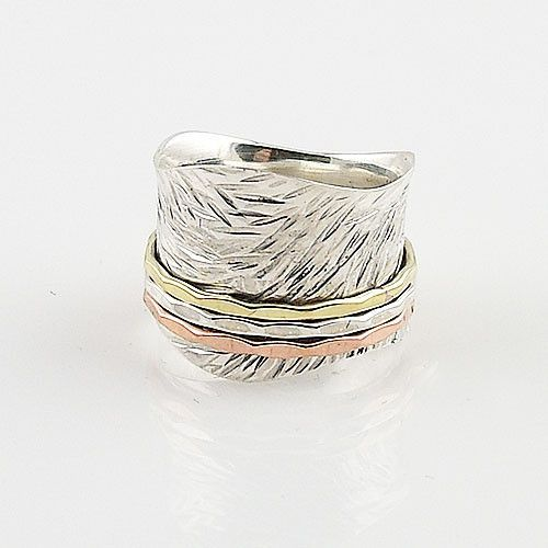 Spinner Ring - Three Tone Scaloped Edge Wide Band - keja Jewelry