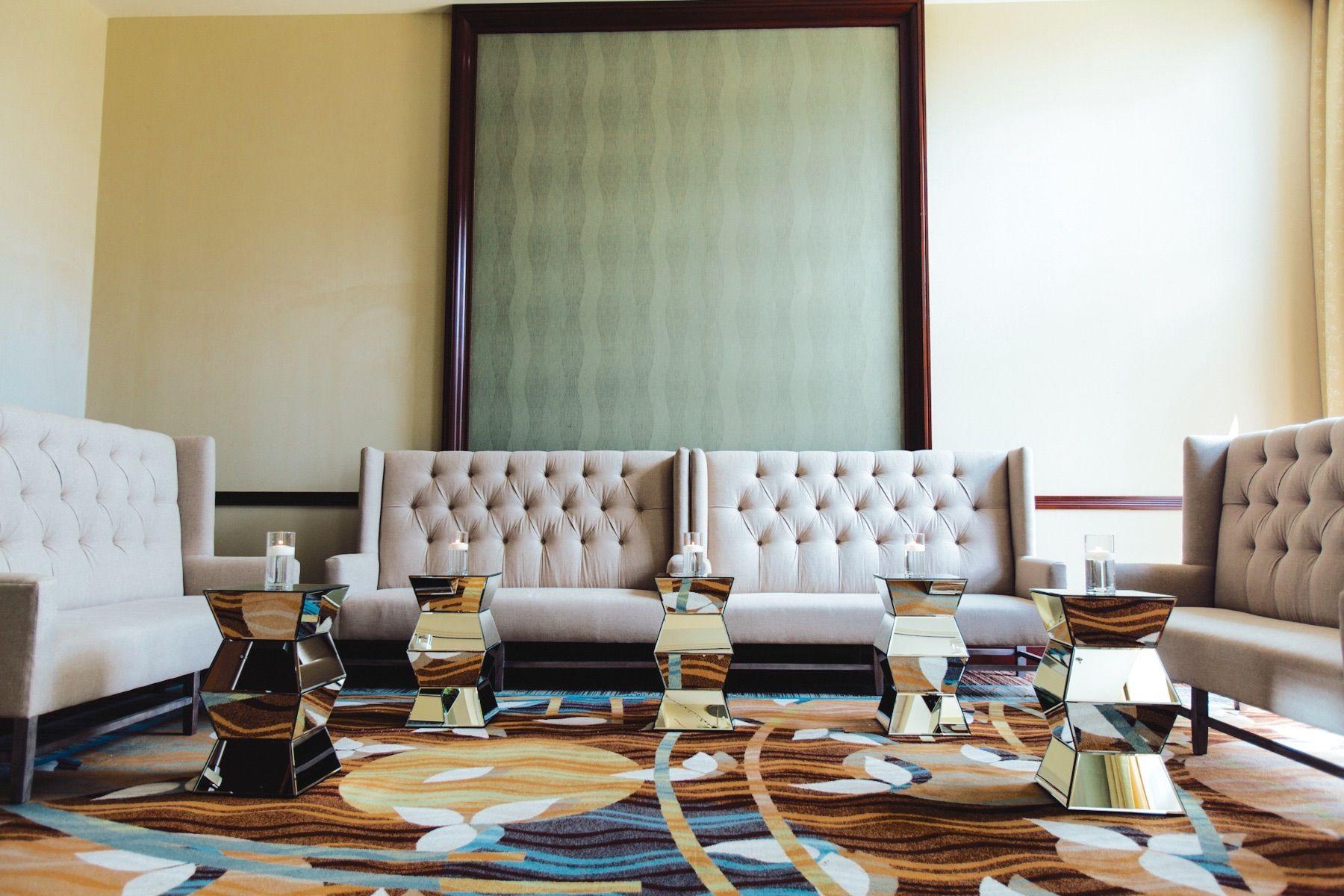 Modern chic style art deco mirror wedding reception space