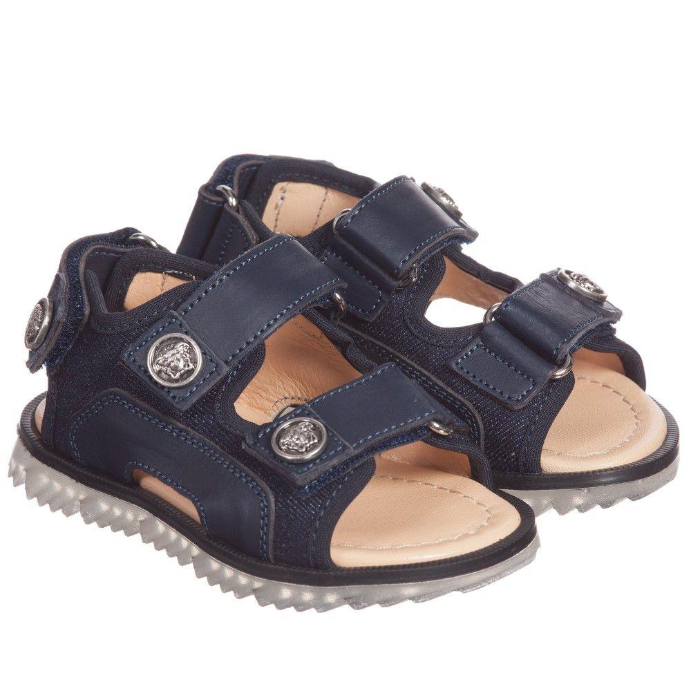 Black sandals for toddler boy - Boys Navy Blue Leather Sandals