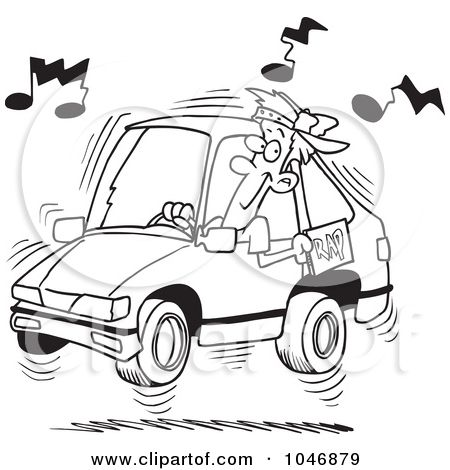 Royalty-Free (RF) Clip Art Illustration of a Cartoon Black And White Outline Design Of A Man Blaring Rap Music In His Car by Ron Leishman