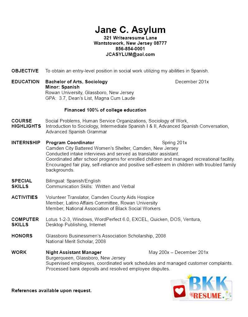resume for fresh graduate nursing student
