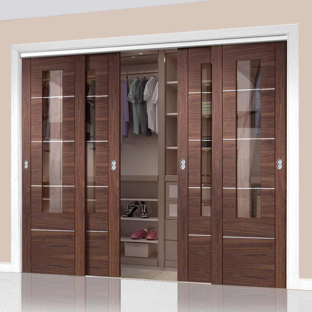 Bespoke Thruslide Portici Walnut Glazed 4 Door Wardrobe And Frame Kit Aluminium Inlay Prefinished Wardrobe Door Designs Wardrobe Doors Sliding Wardrobe Doors