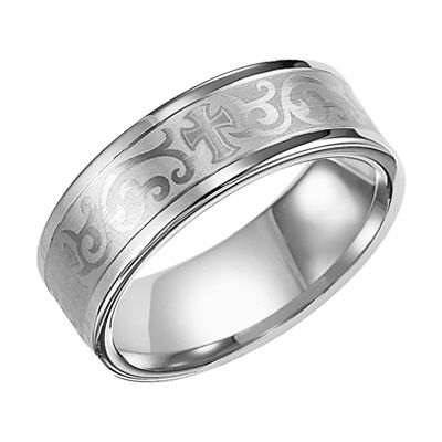 Triton Men S 8 0mm Comfort Fit White Tungsten Scroll Cross Engraved Wedding Band Zales 255