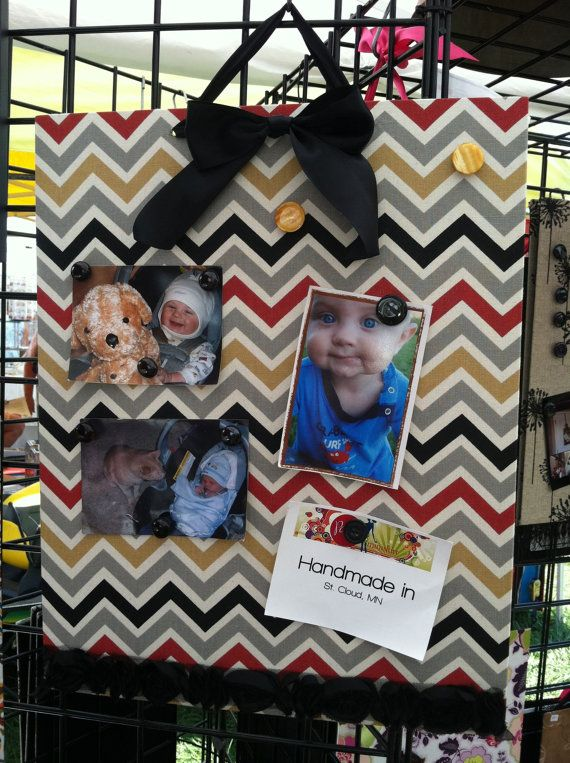 Fabric covered magnet board Chevron black and by Paperminiskirt, $43.00