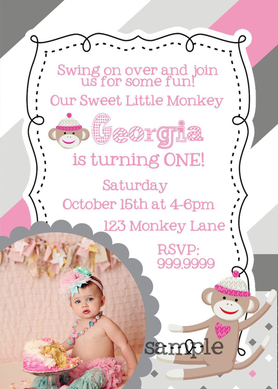 DIY 5x7 Pink and Grey Sock Monkey Birthday Invitation. $15.00, via ...