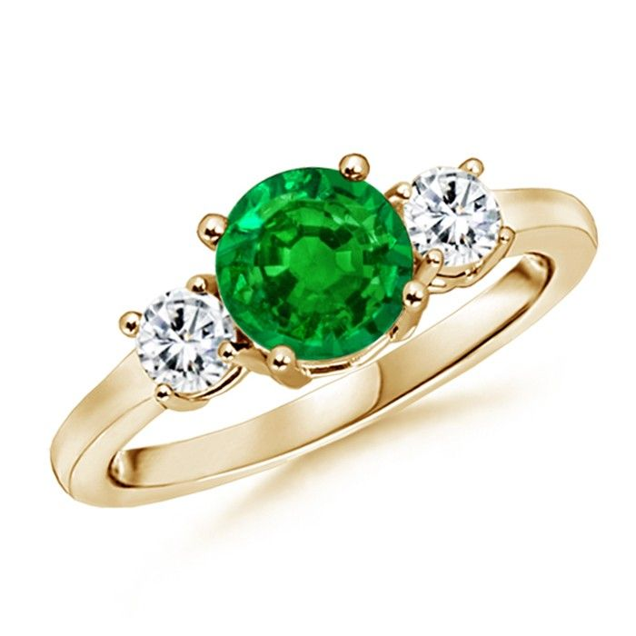 Angara Prong Set Oval Emerald and Diamond Three Stone Ring in 14k Yellow Gold GN2jQOJe