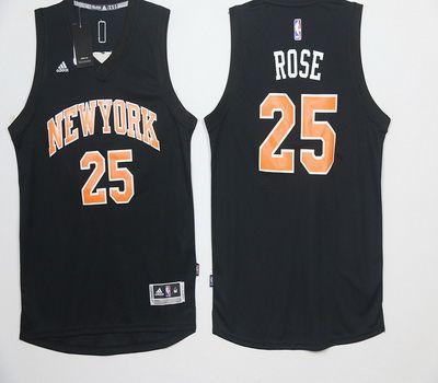 buy popular a9a46 694c2 NBA New York Knicks 25 Derrick Rose Black Basketball Jersey ...