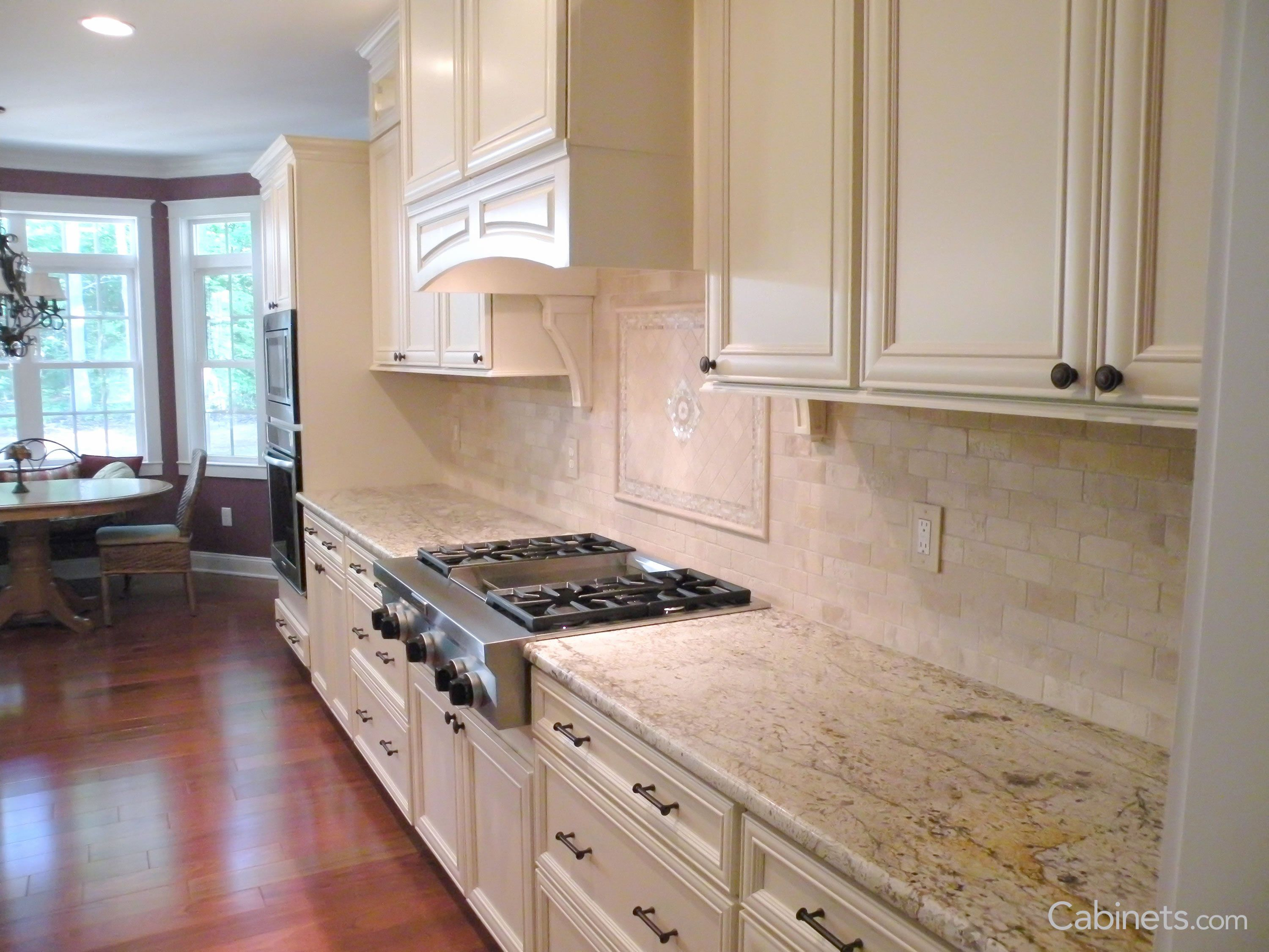 Large Traditional Off White Kitchen With Stacked Cabinets Wood Hood Cabinets Com In 2020 Used Kitchen Cabinets Kitchen Cabinets Off White Kitchens