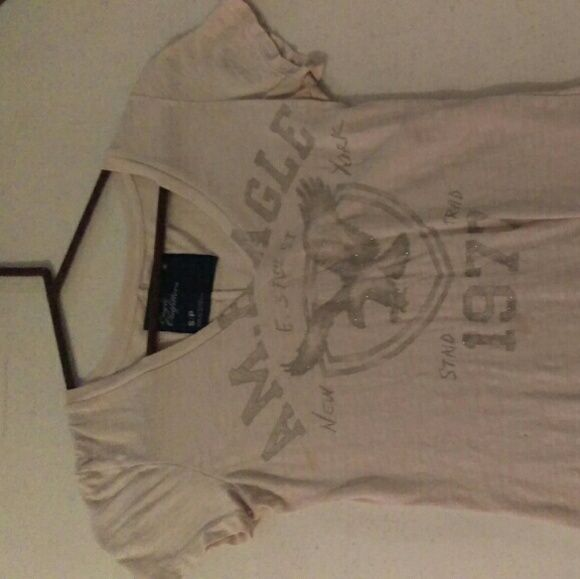 Whitr AE strechy shirt Stretch meterial with silver letters American Eagle Outfitters Tops Tees - Short Sleeve