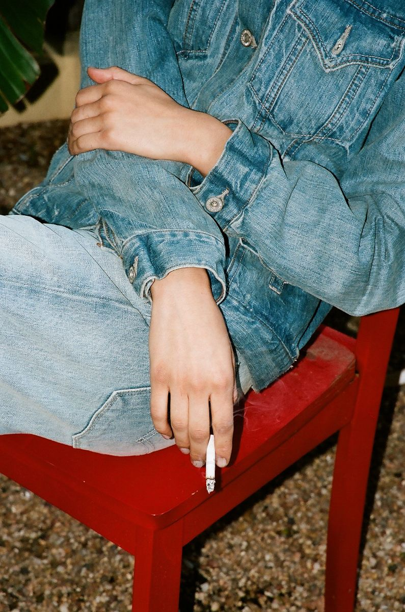 """thisisjunkmag: """"Alison Peery photographed by Sarah Soquel Morhaim, dressed by Imogene Barron, wearing a vintage Levi's jacket and jeans. """""""
