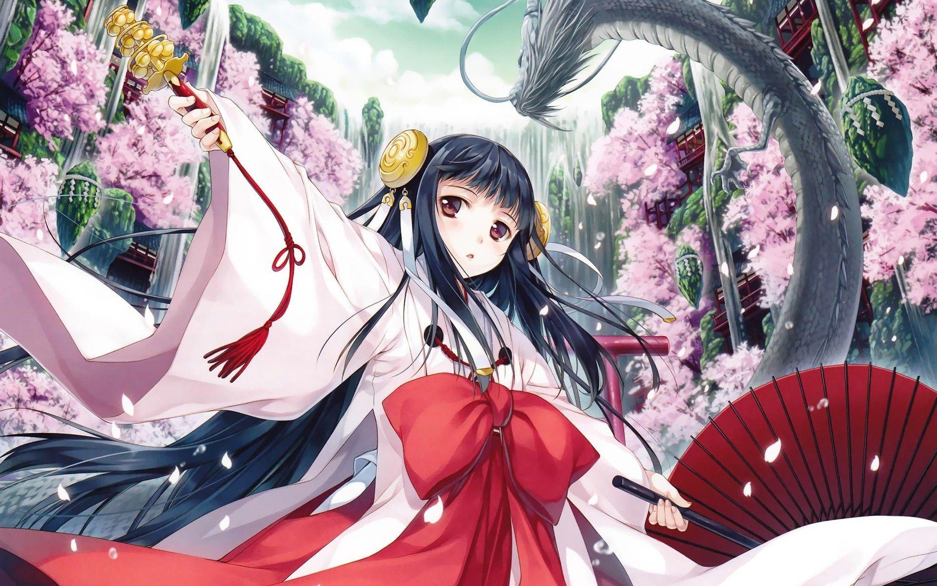 Anime Miko Dragon Cherry Blossom Anime Girls Original Characters Wallpaper Anime Kimono Anime Anime Wallpaper Download Anime wallpaper mega pack