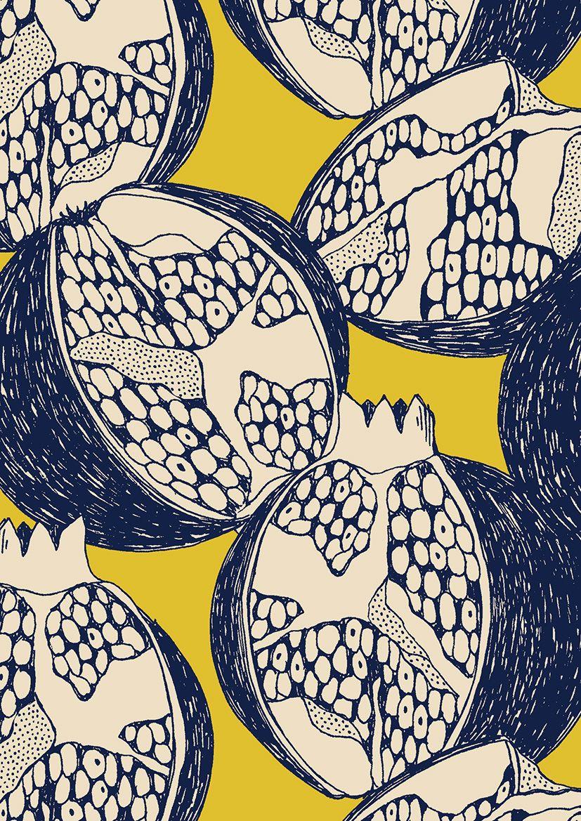 fruit pattern   limited colour palette   illustration