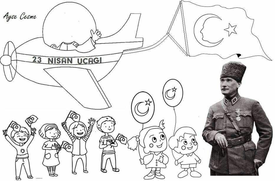 Selenga Kinis Adli Kullanicinin 23 Nisan Ulusal Egemenlik Ve Cocuk Bayrami Panosundaki Pin Boyama Sayfalari Egitim Okul Oncesi