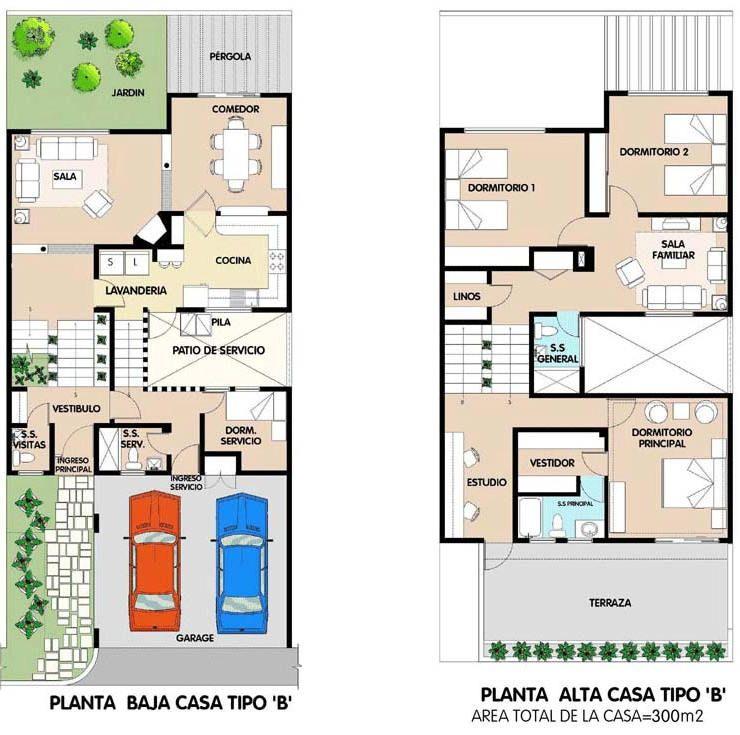 planos de casas modernas de 2 pisos gratis con medidas