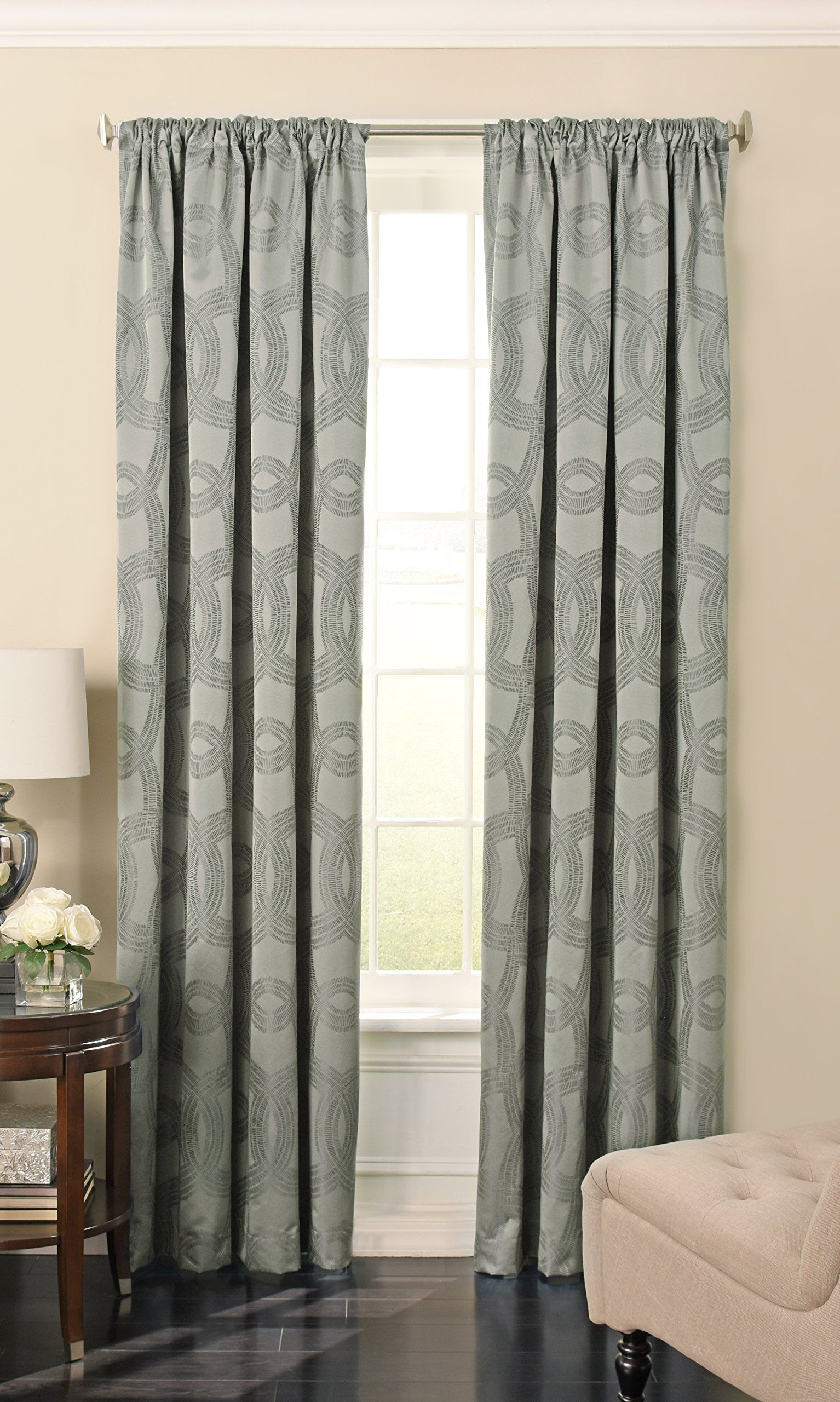Beautyrest 15779052084ssg Odette 52inch By 84inch Blackout Single Window Curtain Panel Silver Sage You Could