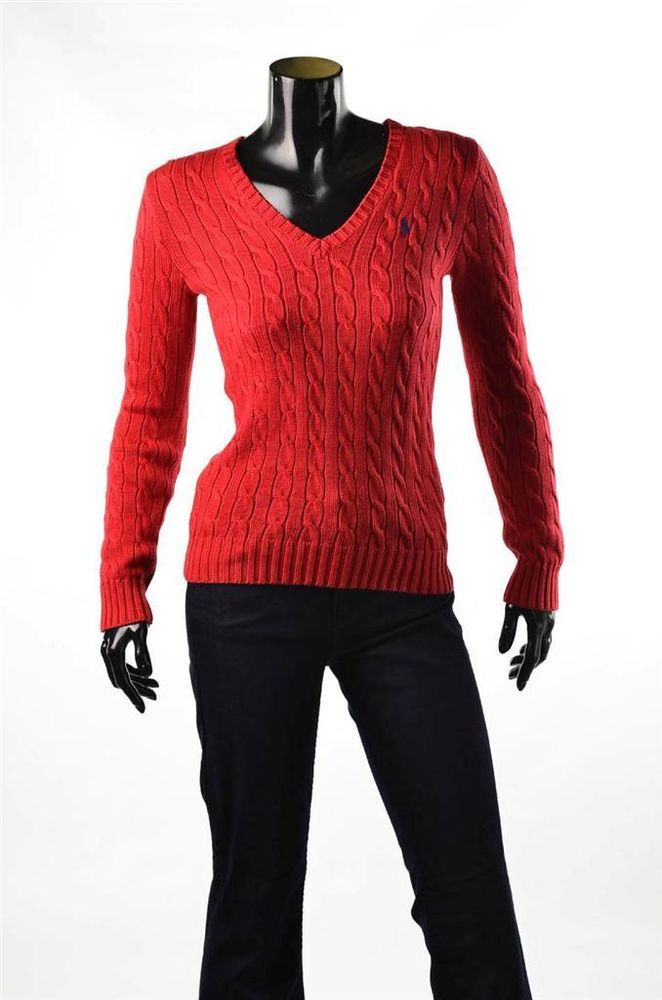 Ralph Lauren Red Cable Sweater NWT Womens V Neck Cotton Pullover ...