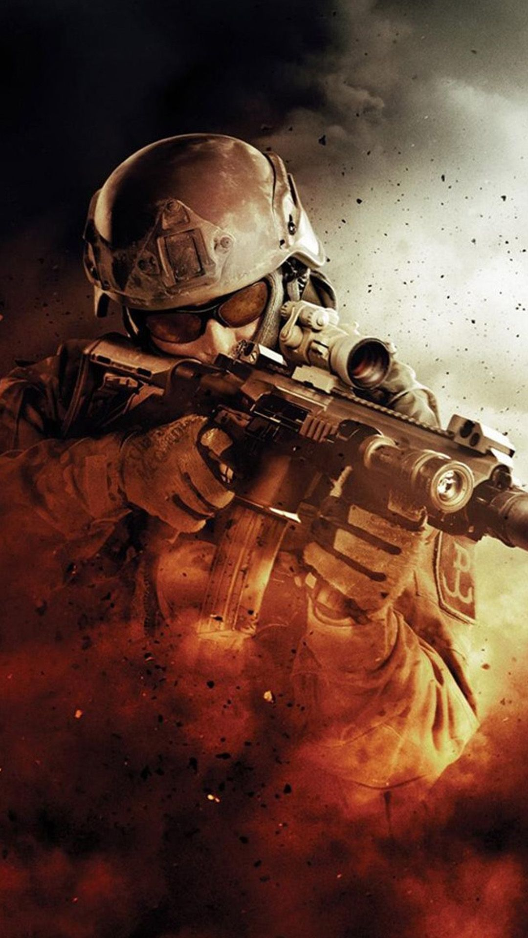 War Fire Fight Soldier Gun Weapon IPhone 6 Plus Wallpaper