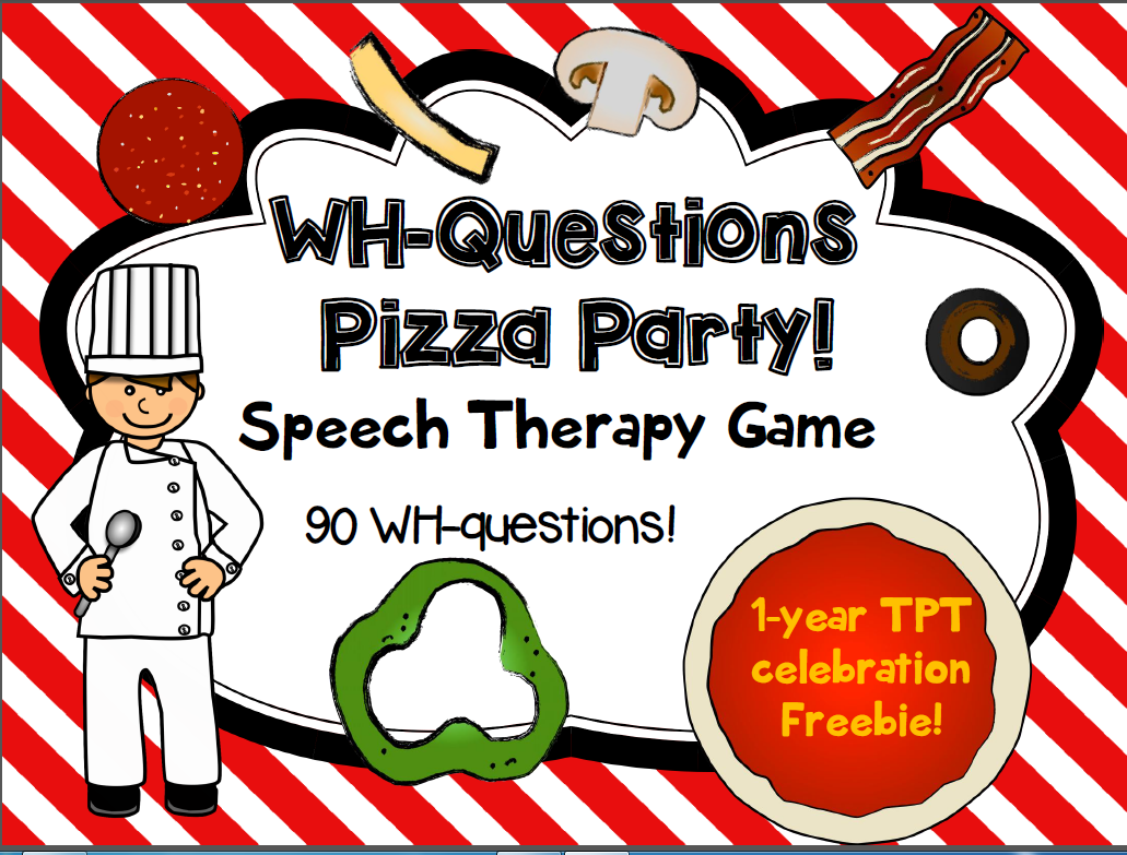 Freebie Wh Questions Pizza Party Game For Speech