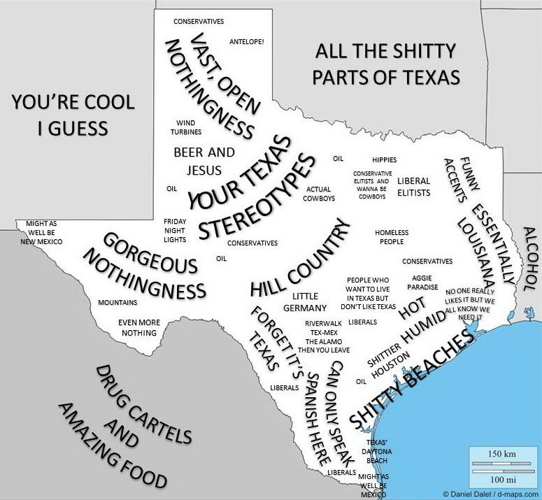 Funny Map Of Texas Texas stereotype map   Vivid Maps | Texas, Funny maps, Map