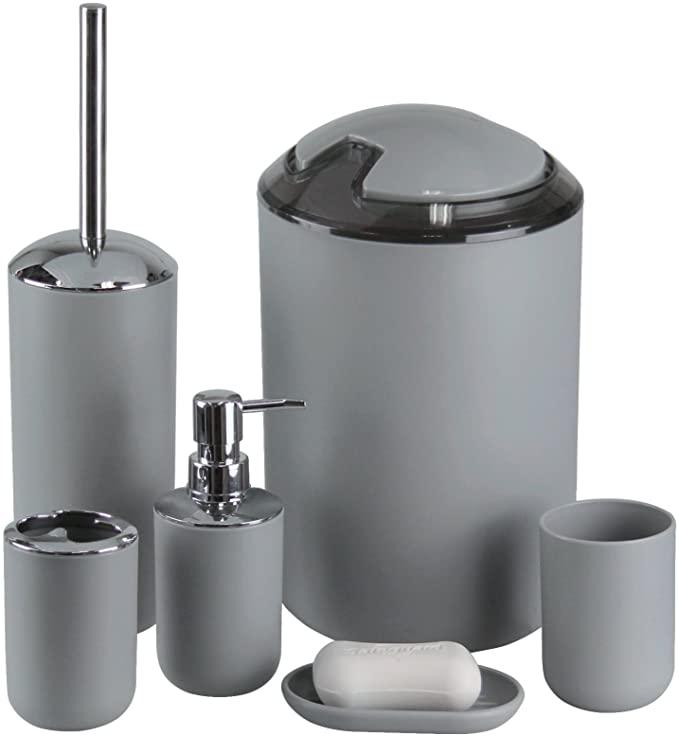 Amazon Com Imavo Bathroom Accessories Set 6 Pcs Plastic Gift Set Toothbrush Hol Bathroom Accessories Sets Gray Bathroom Accessories White Bathroom Accessories