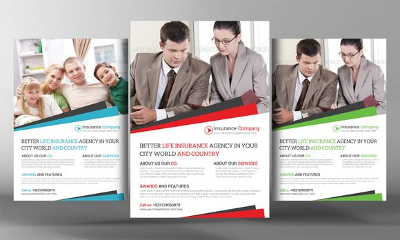 Insurance Agency Flyer Template By Business Templates On Creative - Insurance brochure template