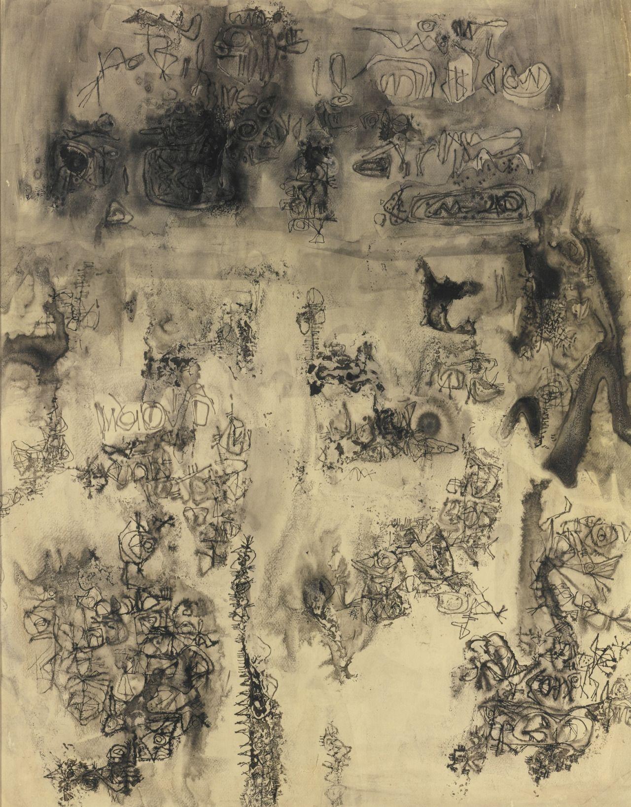 Ambadas Khobragade (Indian, 1922-2012), Untitled (Black). Ink and watercolour on paper, 61.6 x 48 cm.