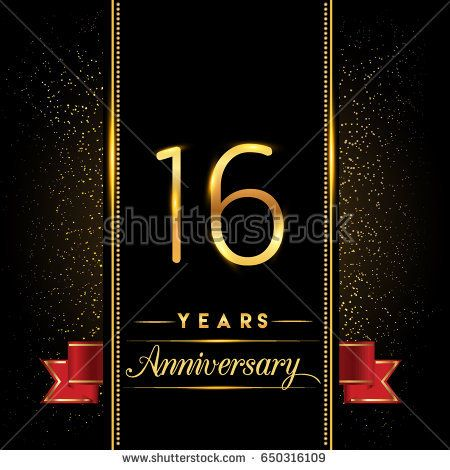 Sixteen Years Anniversary Celebration Logotype 16th Anniversary Logo With Confetti Golden Colo Work Anniversary Cards Work Anniversary Anniversary Celebration