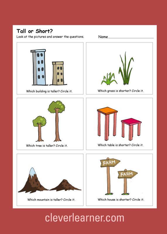 Great Tall vs Short activity worksheets for children #preschool ...