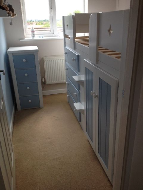 Small Box Room Cabin Bed For Grandma: Sky Blue And White Bedroom Collection. This Box Room Didn